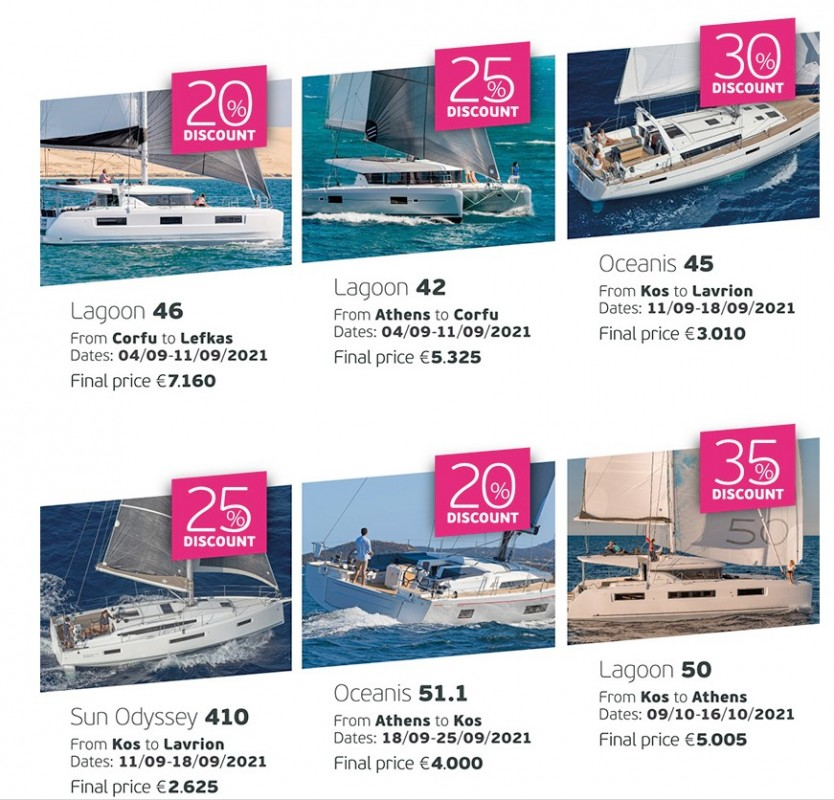 One way yacht charter offers Greece